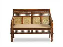 Embossed Antique Brass Work Solid Wood Brass Sofa 2 Seater 105xx60x80