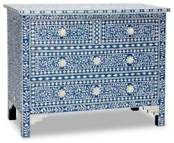 Bone Inlay Blue Floral Chest Of 4 Drawers Dresser Made To Order