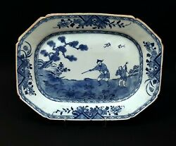 Antique Chinese Porcelain - Shooting Scene Blue And White Serving Plate -art Asie