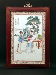 Chinese Antique Famille Rose Porcelain Plaque Tile China Asian Art Asie