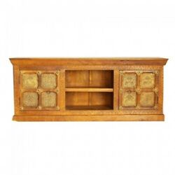 Indian Embossed Antique Brass Work Solid Wood Plasma Stand Tv Unit 150x40x90
