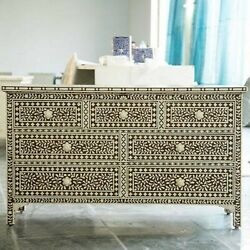 Bone Inlay Chest Of Drawer Brown White Floral Pattern Made To Order