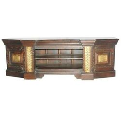 Embossed Antique Brass Work Mahogany Entertainment Unit With Brass Fini140x40x60