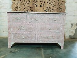 Bone Inlay Chest Of Drawer Pink White Floral Pattern Made To Order