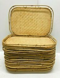 Tiki Bar Serving Trays Bamboo Woven Wicker 19x13 Set Of 17 Vintage