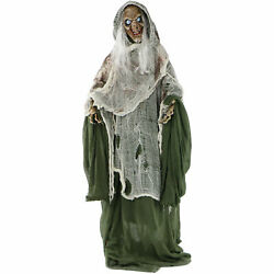Haunted Life-size Animated Talking Evil Witch Prop Rotating Head Halloween Decor
