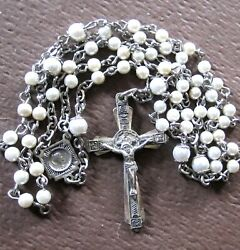 Wonderful Vintage Sterling Silver Rosary Chapel Marked Crucifix And Medal 22.5 L