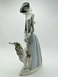 Retired Lladro Lady With Grayhound 4594g 15in High Figure Hand Painted Porcelain