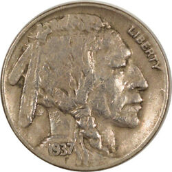 1937-d 3 Leg Buffalo Nickel, Key Date Strong Xf+ Details, But Cleaned
