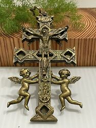 Antique Religious Large Pectoral Cross Crucifix Double Sided Patina Brass 7andrdquo