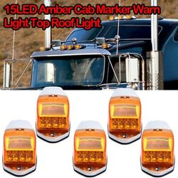 5pcs Yellow Cab Roof Marker Running Lamps W/ Amber Led Lights For Truck 4x4
