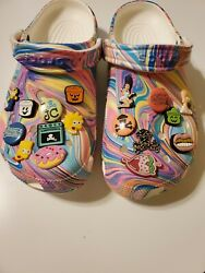 New Crocs Marble Out Of This World Clog Mens 8 Womens 10 Charms Johnny Cupcakes