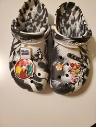 Pre-owned Crocs Black White Marble Men's 8 Women's 10 With Charms Golden Girls
