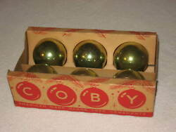 Vintage Red Light Green Christmas Ornaments Glass Ball Box Of 6