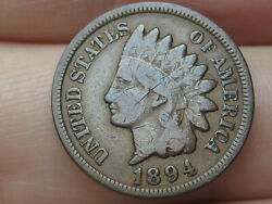 1894 Indian Head Cent Penny, Fine Details, Full Rims