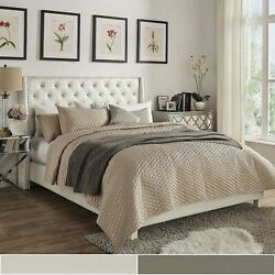 Aurora Faux Leather Crystal Tufted Nailhead Wingback Bed By