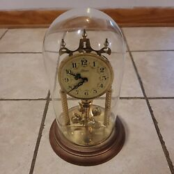 Sloan Clock Made In Germany Glass Dome Pendulum Works Read