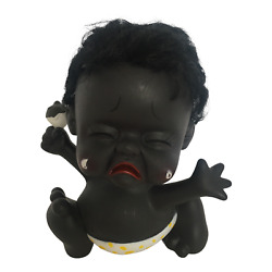 Cry Baby Coin Bank Shaking Head Vintage Holding Rattle 6.5 Crying Tears Plastic
