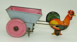Vintage Tin Rooster Pulling Cart  Wind-up Toy Works