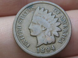 1894 Indian Head Cent Penny- Vg/fine Details, Full Rims