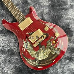 Naughty Boy Electric Guitar Red Flame Maple Abalone Birds Inlay Gold Hardware