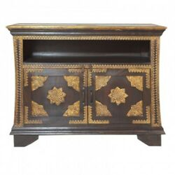 Indian Embossed Antique Brass Work Solid Wood Sideboard Brown Small Buffet 1m