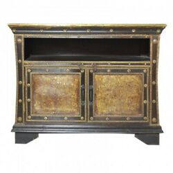 Indian Embossed Brass Work Solid Wood Small Sideboard Buffet Hutch Walnut 1m