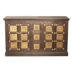 Embossed Antique Brass Work Solid Wood Indian Sideboard Buffet 150x40x90cm