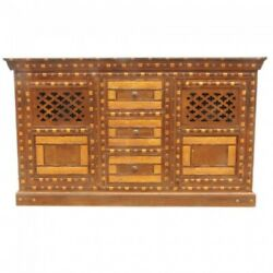 Indian Embossed Antique Brass Work Solid Wood Chocolate Brown Gold Sideboard