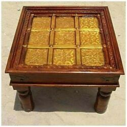 Brass Work Indian Solid Wood Hand Carved Square Side Table Made To Order