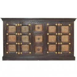 Indian Embossed Antique Brass Work Solid Wood Sideboard Buffet Hutch Walnut