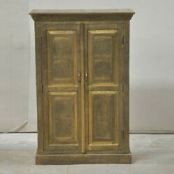 Embossed Antique Brass Work Solid Wood Indian Golden Cabinet Made To Order
