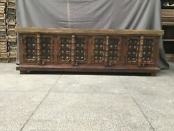 Made To Order Indian Antique Solid Wood Brass Work Sideboard Brown 185x50x60