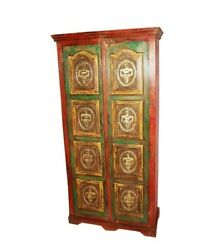 Embossed Antique Vintage Style Wooden Almirah With Brass Finish Made To Order