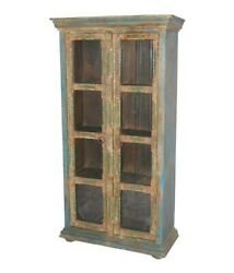 Embossed Antique Vintage Wooden Almirah With Brass Finish Made To Order