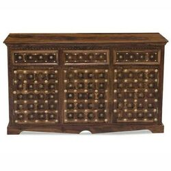 Made To Order Mogra Antique Brass Work Solid Wood Brass Sideboard C 140x40x80