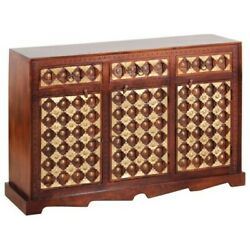 Made To Order Mogra Antique Solid Wood Brass Work Fusion Sideboard Cabinet