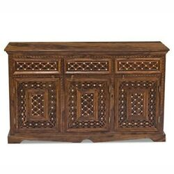 Made To Order Mogra Antique Brass Work Solid Wood Brass Sideboard B 140x40x80