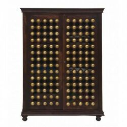 Mogra Brass Work Indian Antique Style Walnut Solid Wood Cabinet Made To Order