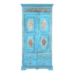 Brass Work Indian Solid Wood Cabinet With Shelves And Drawer Made To Order