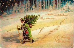 Vintage 1910's Santa Claus In A Green And Gold Robe With Tree Christmas Postcard
