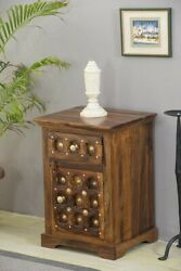 Mogra Antique Brass Work Solid Wood Brass Bedside Table Made To Order