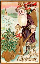 Vintage 1910's Santa In Purple Robe And Wheel Barrow And Toy Bags Christmas Postcard