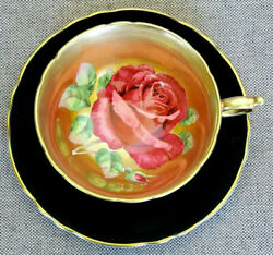 Paragon Rare Antique Teacup And Saucer Heavy Gold With Huge Floating Cabbage Rose