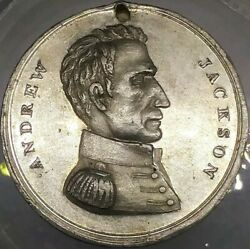 1845 Andrew Jackson Funeral Medal Military Bust By Kettle Urn On Pedestal
