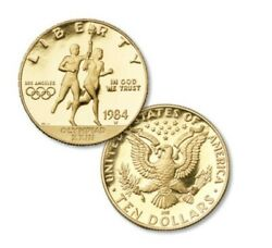 1984-w Proof Los Angeles Olympics 3 Coin 10 Gold 1/2oz. And 2 Silver