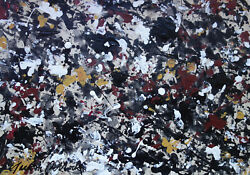 Fine Art, Abstract Expressionist Unique Painting, Signed, Jackson Pollock - Rare