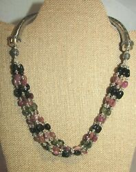 Sx .925 Sterling Silver 5 Strand Multi Gemstone Necklace Incl. Amethyst, Agate