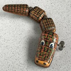 Tin Toy Toys Crocodile Spring 1970's Made In Rice Shop For Export Vintage