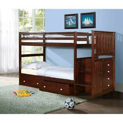 Donco Kids Mission Twin Stairway Bunk Bed With Underbed Cappuccino Twin Over Twi